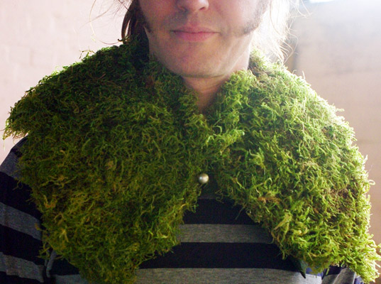 Tara Mooney's Moss Collar for dudes?, Fashioning the Future Awards, London College of Fashion, Tara Baoth Mooney, UK sustainable fashion, student sustainable fashion competitions, moss collars, portable pelt, Tara Mooney, eco-fashion and vegetation, biomimicry, moss design title=