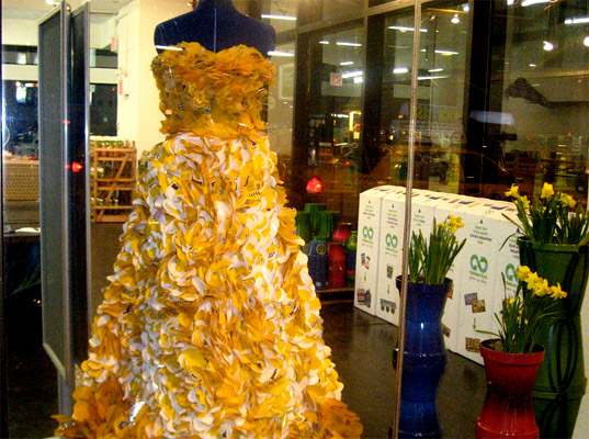 Gown made from recycled m m wrappers fronts terracycle pop for Anything of waste material