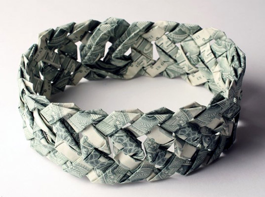 Tine De Ruysser Makes Fabulous Origami Jewelry Out Of Banknotes