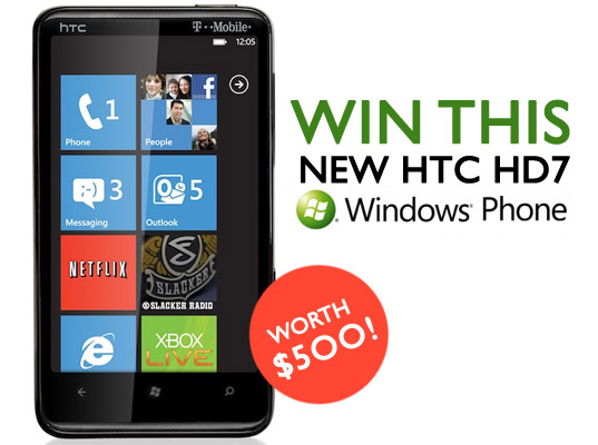 Windows HTC HD7 Phone, Windows HTC HD7 Phone, T-Mobile, free stuff, giveaways, contests, smartphones, cellphones, PDAs