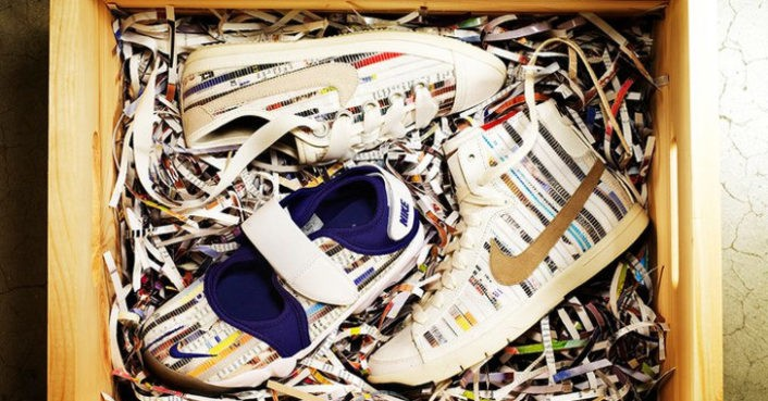 dc8e1e296b Nike Turns Shredded Magazines Into Colorful Sneakers