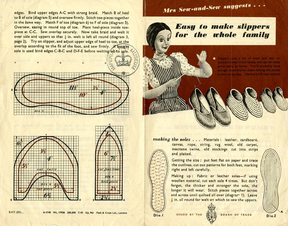 Make Slippers for the Whole Family, World War II-Style