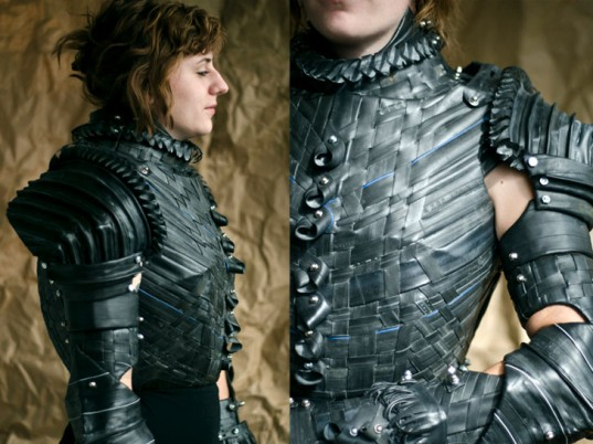 Joan of Arc, recycled armor, upcycled armor, Grace DuVal, recycled inner tubes, recycled tires, upcycled tires, recycled fashion, upcycled fashion, recycled clothing, upcycled clothing, eco-fashion, sustainable fashion, green fashion, ethical fashion, sustainable style