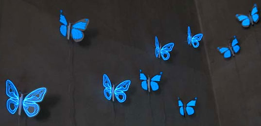 Soner Ozenc, John Wischhusen, Electroluminescent fabric, El Flutter, Butterfly Nightlight, Designers Block, London Design Festival, Time Curtain, Luminescent Prayer Mat