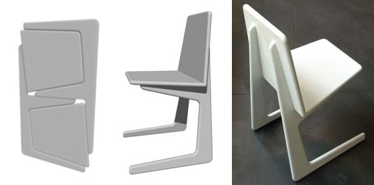 Alain Bertreau, Folding Furniture, Instant Chair, Modular furniture, fold-up stackable chairs