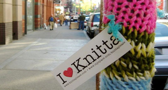 Knitta Please, Knit graffiti, Knitting graffiti crews, granny graffiti