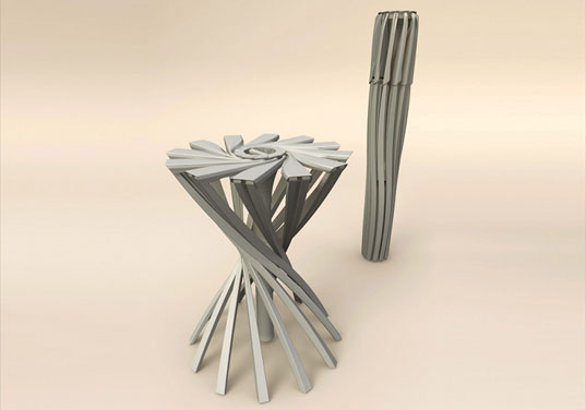Materialise One Shot Stool, 3D printing, rapid prototyping, laser sintering, folding chair, fold-up chair