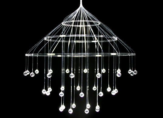 Neueslicht, Scintila Chandelier, Fiber optic chandelier, fiber optic light, waterproof chandelier, Simon Bruenner