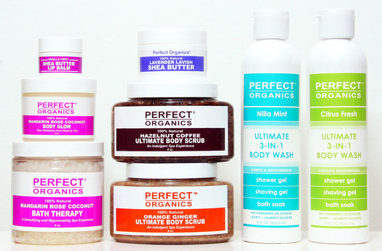 Perfect Organics Product Assortment, Perfect Organics, organic cosmetics, vegan cosmetics, organic body products