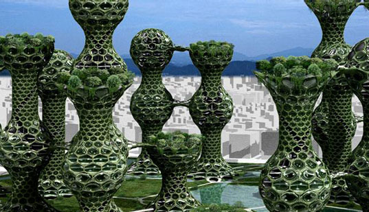 SEOUL COMMUNE 2026, Seoul 2026, Mass Studies Futuristic Architecture, Towers in the Park, Green Towers, Green netted towers, green hexagonally knobby towers in seoul, korea, Korean architecture
